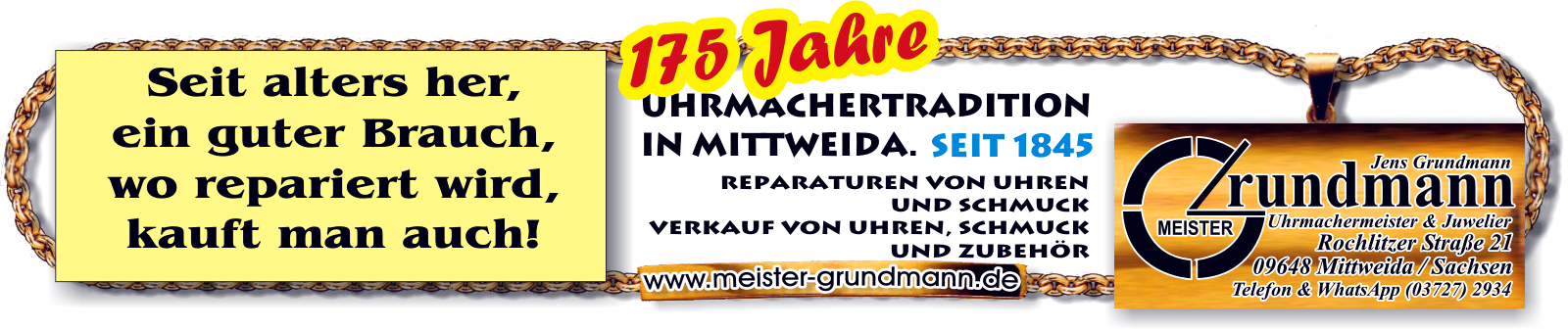 175 Jahre Uhrmachertradition in Mittweida